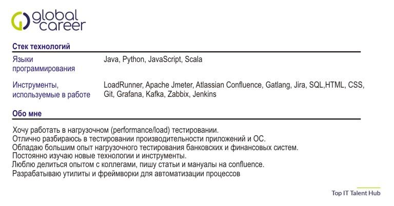 Выдержка из резюме QA Performance