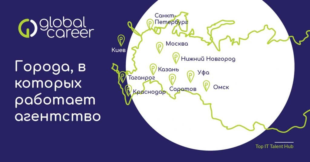 города, в которых работают рекрутеры GlobalCareer